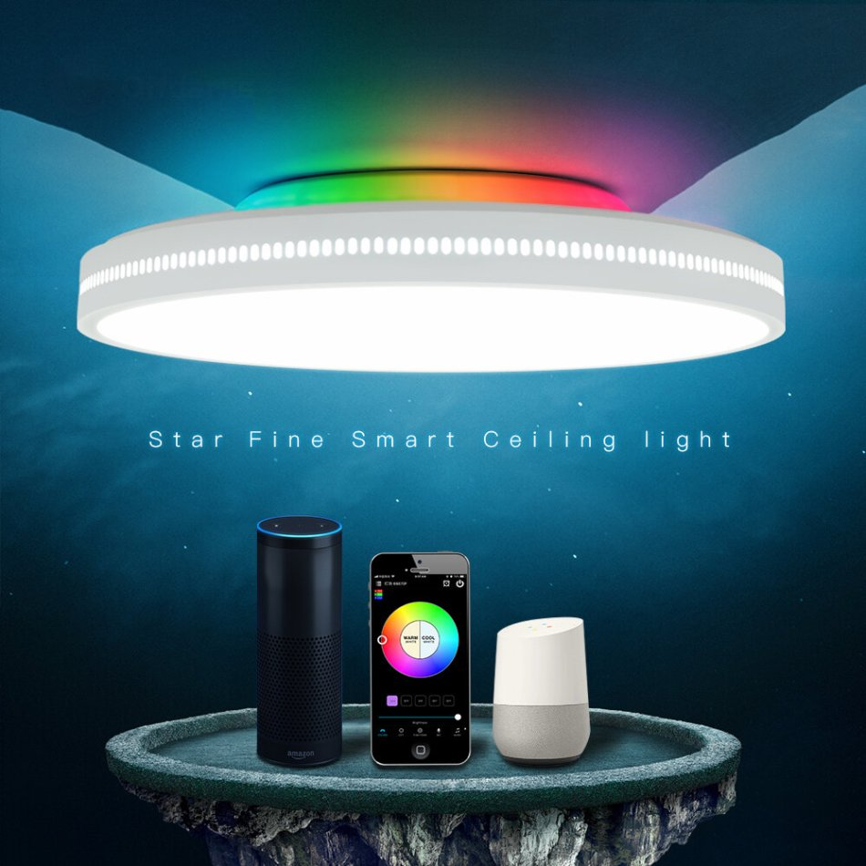 OFFDARKS AC200-240V 60W 400mm Ceiling Lamp Bedroom Kitchen LED Ceiling Light RGB Dimming APP WIFI Voice Control