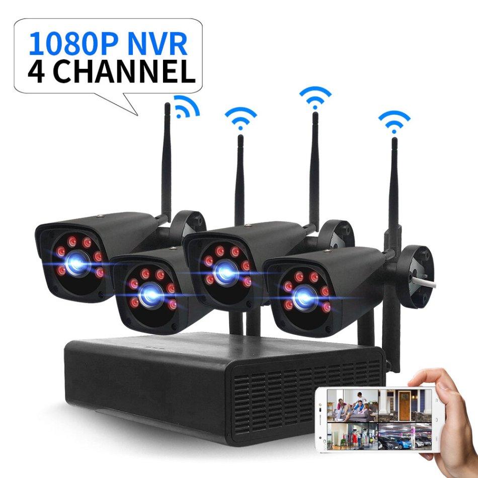 GUUDGO 4CH 2.0MP 1080P Wireless Black Surveillance Camera System Kits outdoor/Indoor Weatherproof P2P CCTV Monitoring Kit