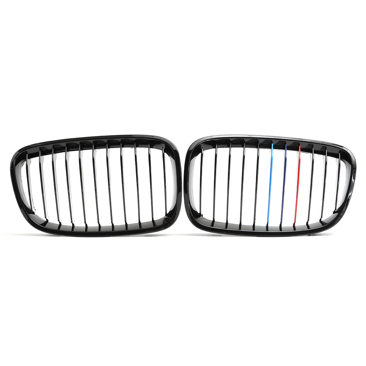 Pair M Style Front Bumper Grille Shiny Gloss Black For Bmw