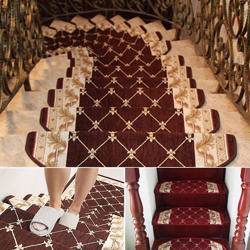 European Style Pastoral Carpet Stair Tread Anti Skid Step Rugs   Plush Carpet Stair Treads   Dog Cat Pet   Iron Frost   Carpet Runners   True Bullnose Carpet   Bullnose