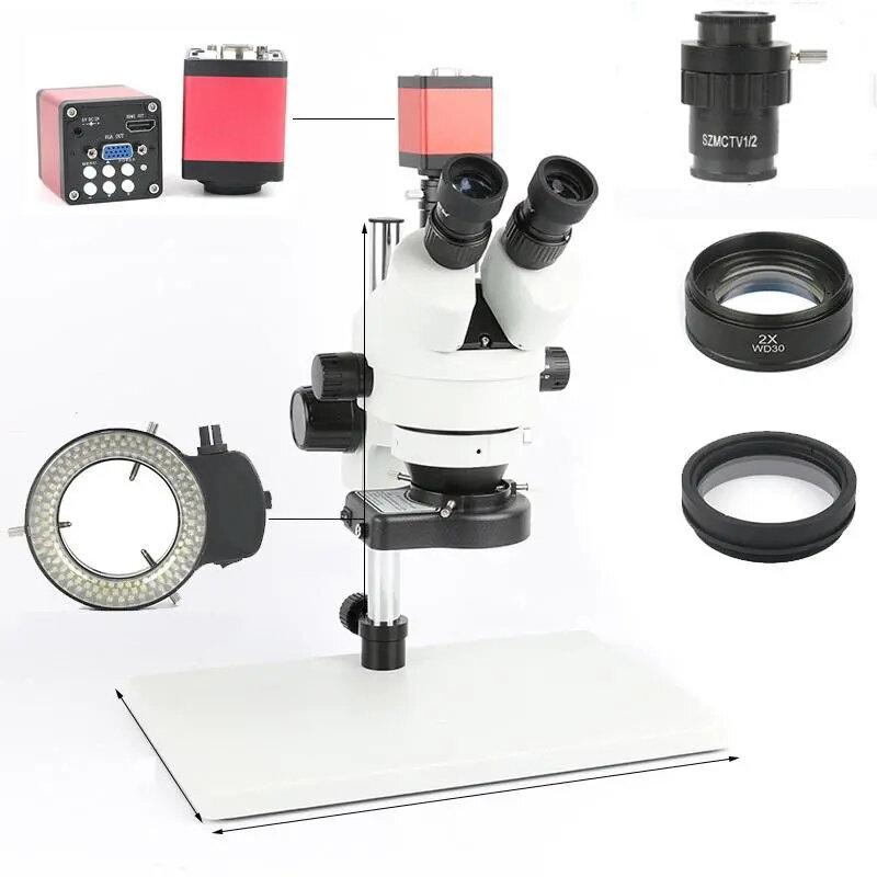 Phone PCB Soldering Repair Lab Industrial 7X 45X 90X Simul-focal Trinocular Stereo Microscope VGA HDMI Video Camera 720P 13MP