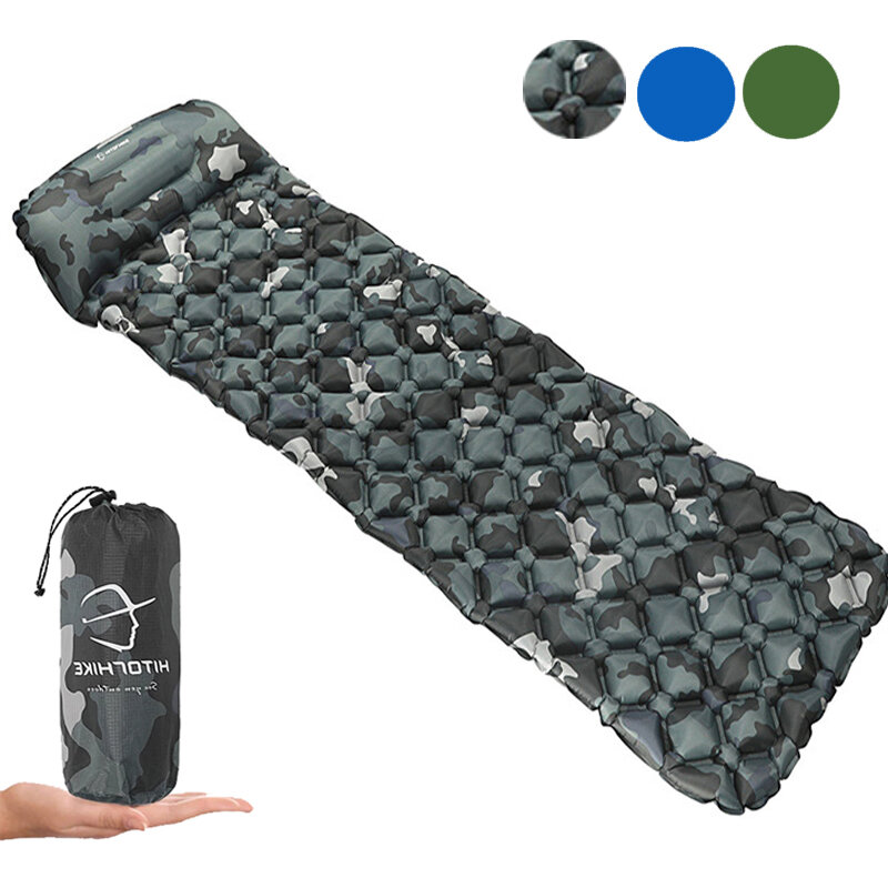 HITORHIKE 1.9*0.6m Innovative Sleeping Pad Fast Filling Air Bed Camping Mat Inflatable Mattress with Pillow Life Rescue Cushion Pad