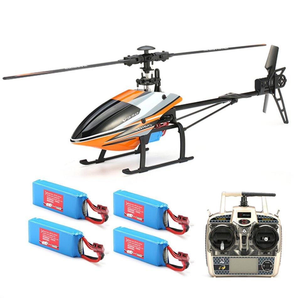 WLtoys V950 2.4G 6CH 3D6G System Brushless Flybarless RC Helicopter RTF With 4PCS 11.1V 1500MAH Lipo Battery