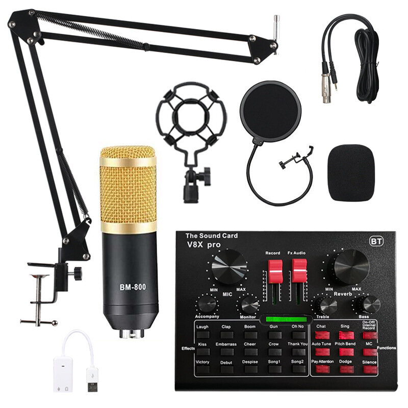 BM800 Pro Condenser Microphone Kit with V8X PRO Muti-functional Bluetooth Sound Card