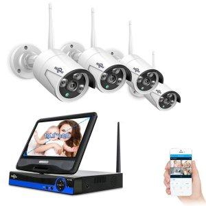 Στα 128€ από Τσέχικη αποθήκη | Hiseeu 10 inch Display 4pcs 1080P Wireless CCTV IP Camera System 8CH NVR WiFi Video Surveillance Home Security System Kit