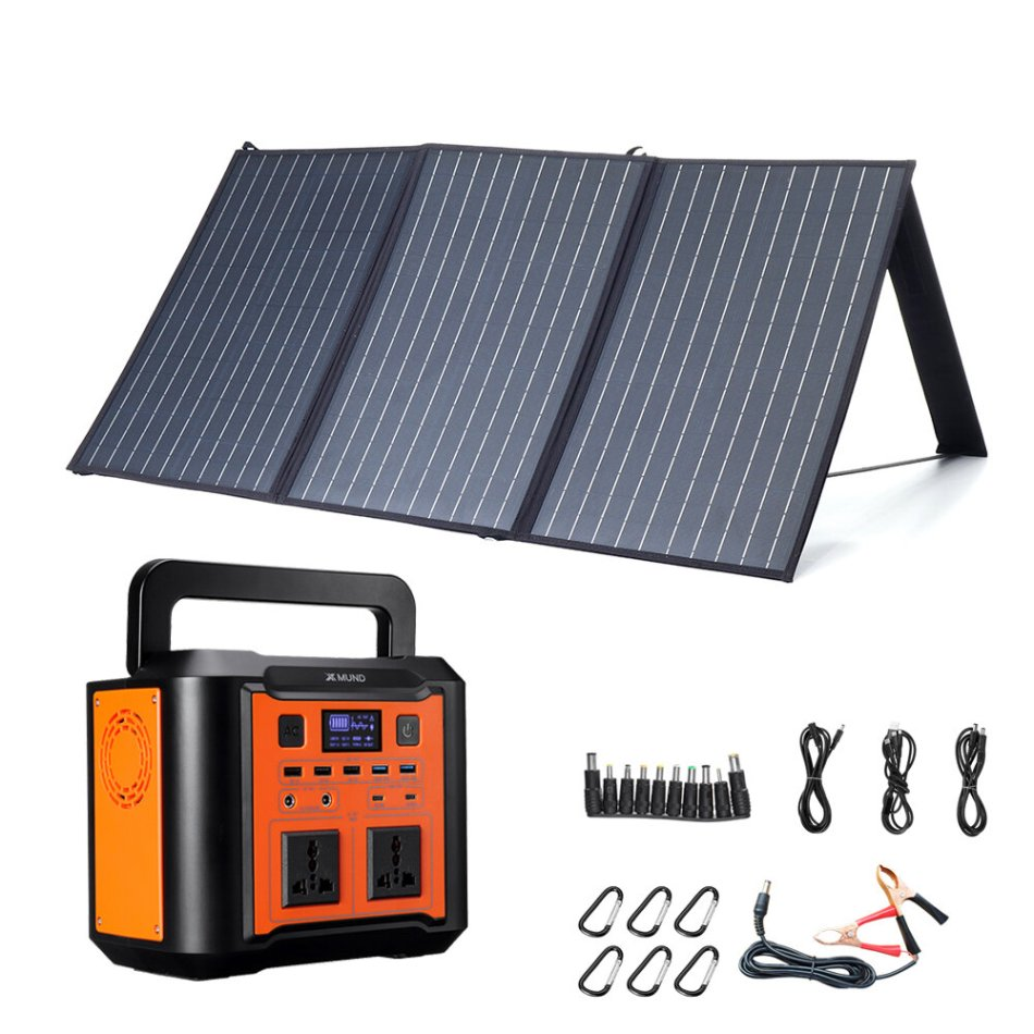 XMUND Solar Panel Set 100W 3-USB+DC PD Fast Charging Solar Charger+ 300W EU Plug Power Generator Portable Outdoor Travel Camping Emergency Energy Supply