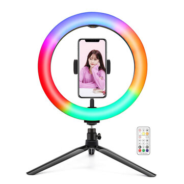 PULUZ PKT3082B 26cm Marquee RGBWW LED Ring Light 168 LED Dual-color Dimmable Video Lights for Youtube Tiktok Live Broadcast Selfie Photography