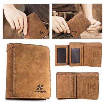 IPRee® Men's Vintage RFID Blocking Trifold Wallet PU Leather ID Credit Card Holder