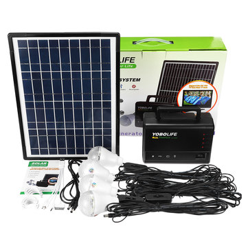 10w solar power panel generator storage led light usb charger home outdoor system kit
