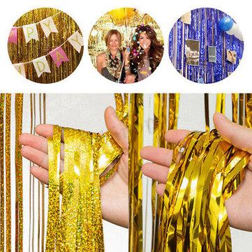 metallic foil fringe rain tassel curtain decor birthday wedding party decorations