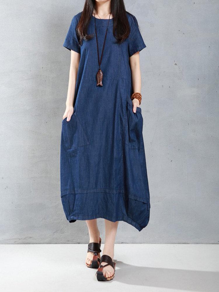 Best Casual Women Loose Short Sleeve Pockets Denim Lantern Dress You Can Buy