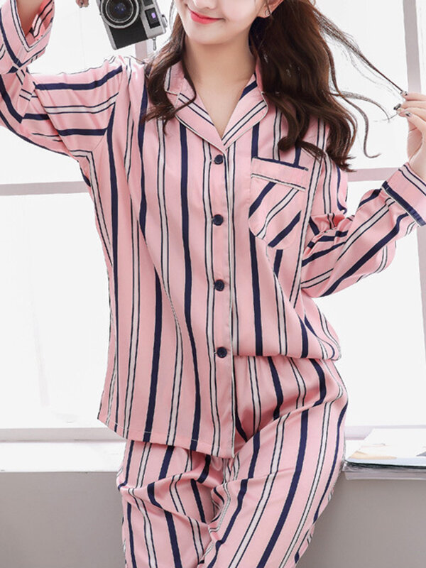 Best Women Faux Silk Irregular Stripe Revere Collar Chest Pocket Long Pajamas Sets You Can Buy