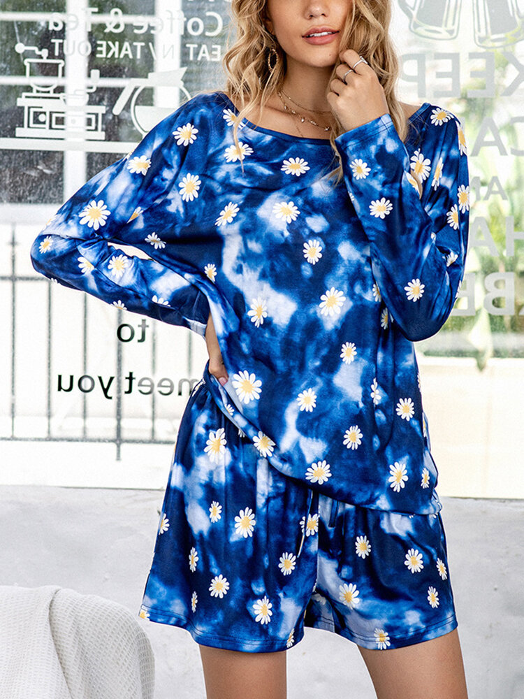 Best Plus Size Women Daisy Tie-Dye Print Cotton Long Sleeve Drawstring Shorts Sleepwear Sets You Can Buy