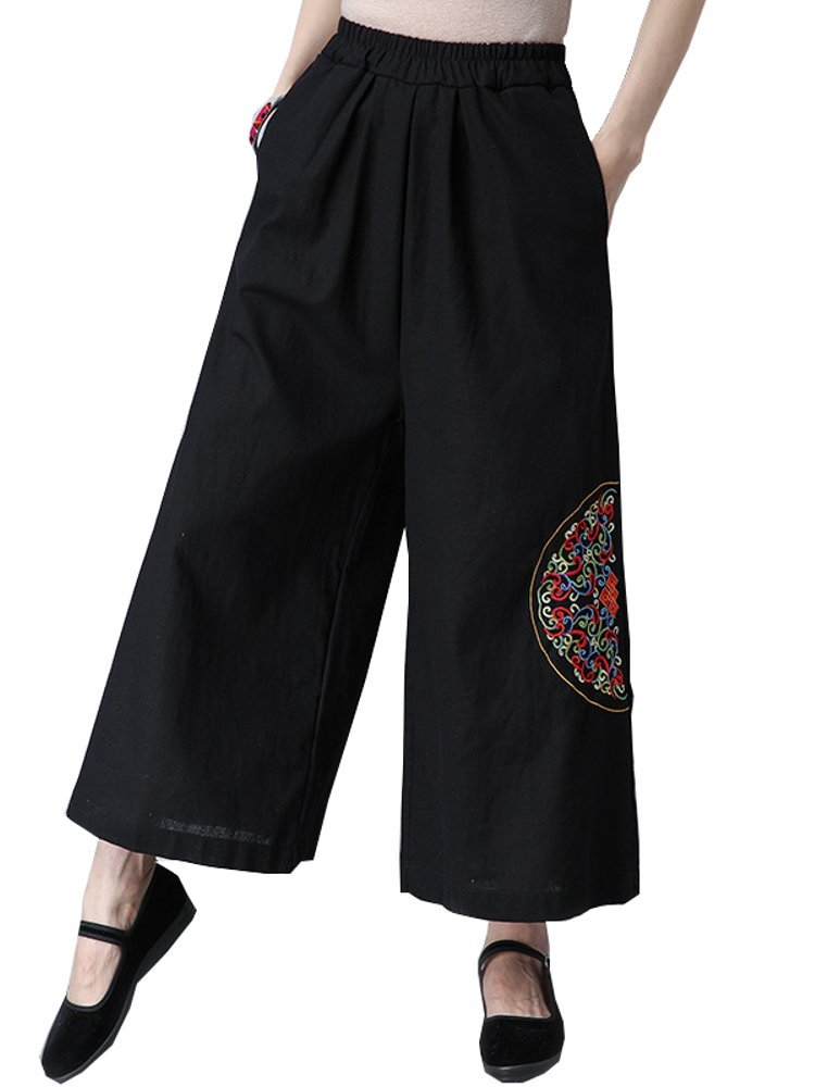 Best Linen Pockets Embroidery Loose Casual Pants You Can Buy