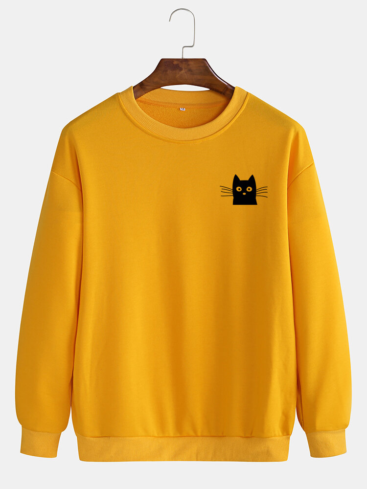 Best Mens Cute Black Cat Solid Color Simple Casual Pullover Sweatshirts You Can Buy