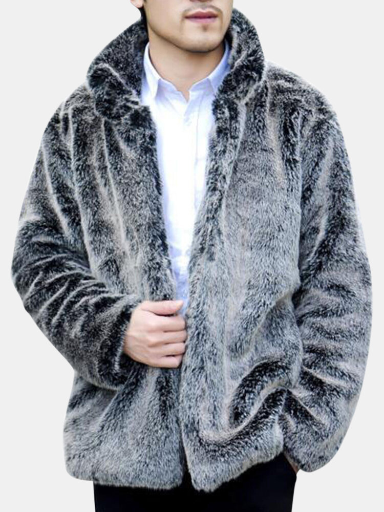 Best Men's Faux Fox Fur Overcoat Fur Stand Collar Thickening Warm Jacket You Can Buy