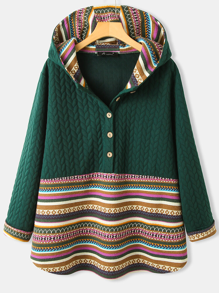 Best Jacquard Striped Patchwork Button Plus Size Hoodie You Can Buy