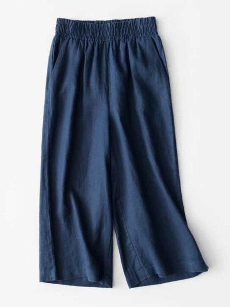 Best Solid Color Elastic Waist Loose Plus Size Pants You Can Buy