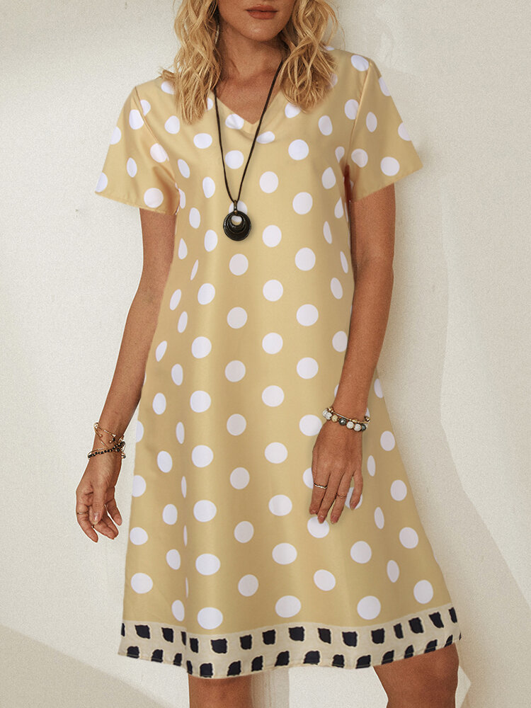 Best Circle Printed Patchwork V-neck Short Sleeve Midi Dress You Can Buy
