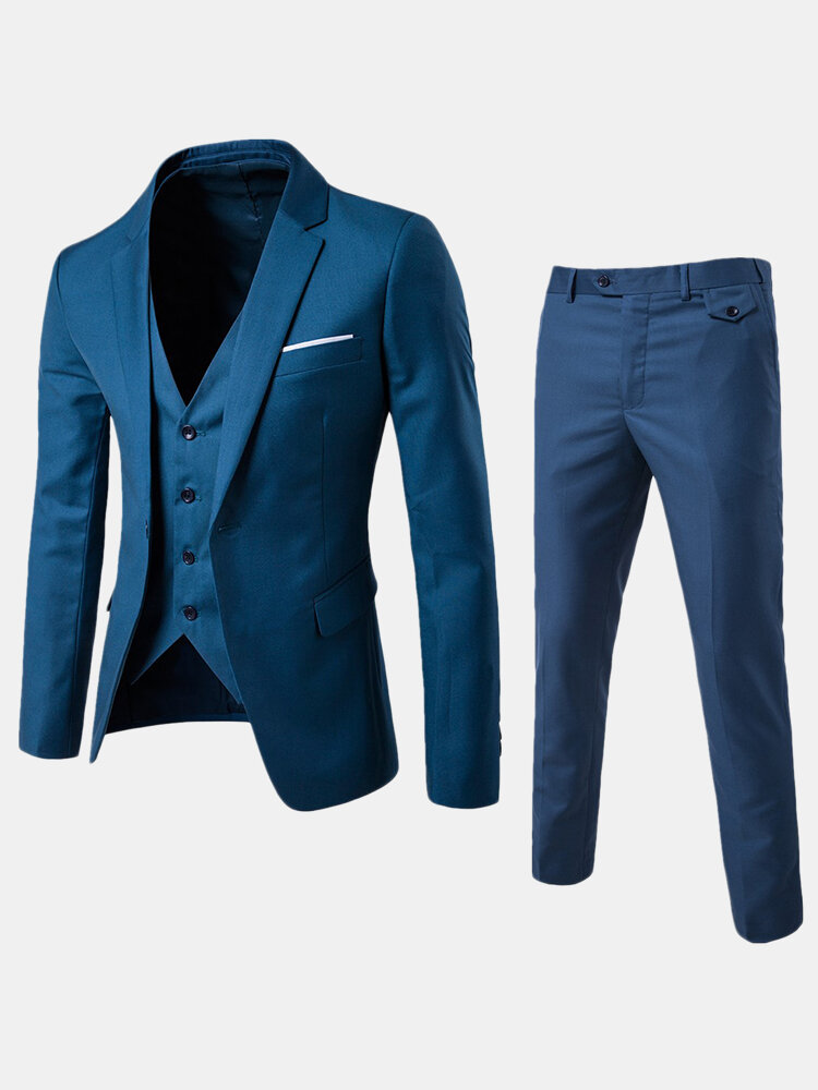 Best Three Pieces Suit One Breasted Wedding Dress Suit Host Dress for Men You Can Buy