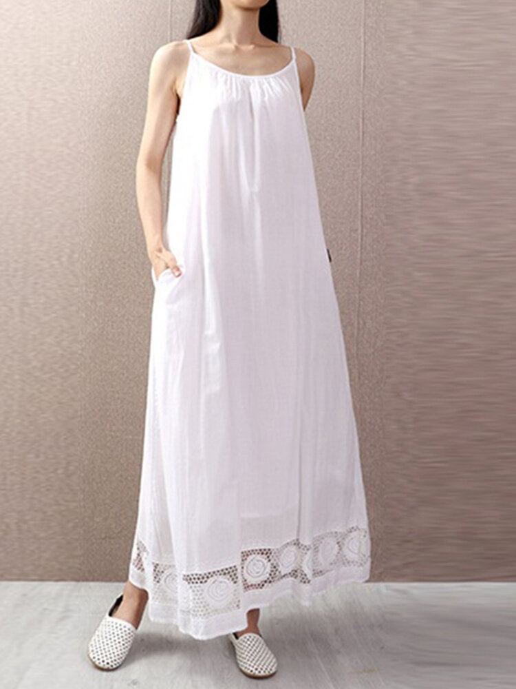 Best Lace Patchwork Spaghetti Straps Plus Size Summer Dress You Can Buy