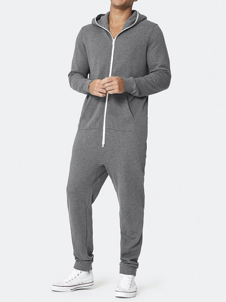 Best Zipper Up Hooded Plain Jumpsuits Daily Running Jogger Outfits Home Loungewear Onesies for Men You Can Buy