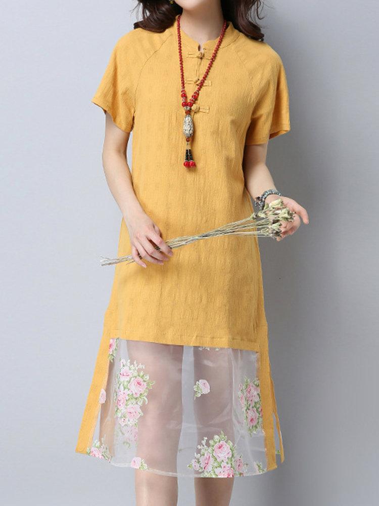 Best Women Patchwork Plate Buckles Short Sleeve Vintage Dresses You Can Buy