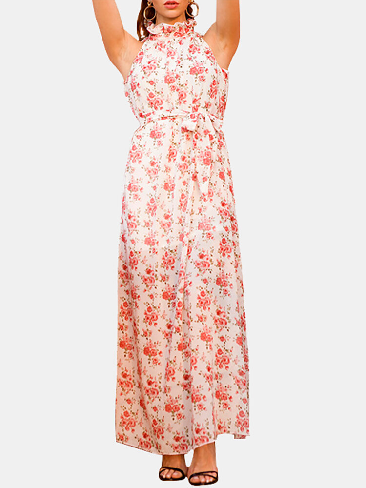 Best Casual Ruffle Collar Floral Printed Sleeveless Midi Dress You Can Buy