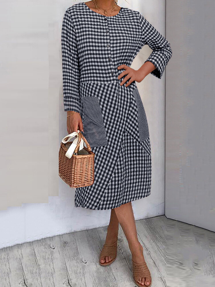 Best Plaid Print O-neck Side Pockets Long Sleeve Dress You Can Buy