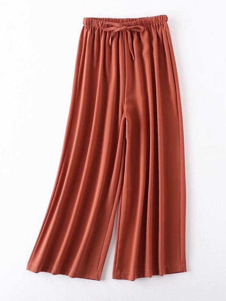 Best Pure Color Elastic Waist Wide Leg Pants You Can Buy