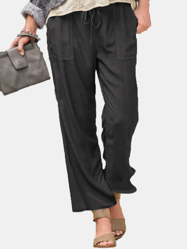 Best Solid Color Elastic Waist Drawstring Wide Leg Pants With Pocket You Can Buy