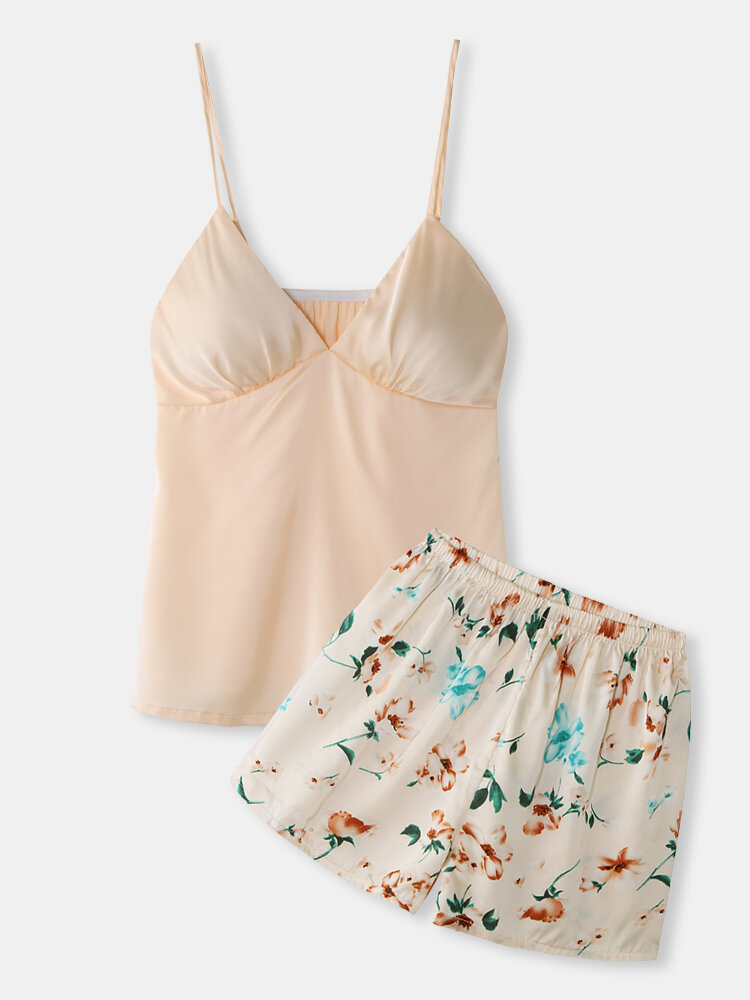 Best Women Mini Pajamas Sets Floral Spaghetti Straps Smooth Casual Loungewear You Can Buy