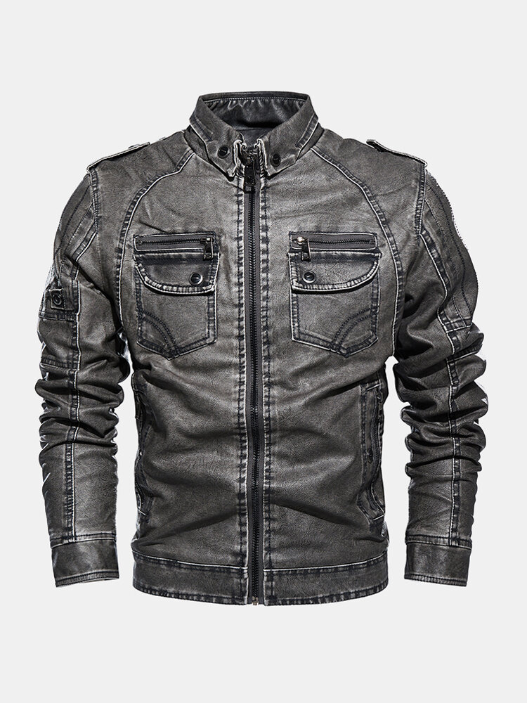 Best Mens Washed Leather PU Velvet Lined Double Pocket Zipper Up Thicken Jackets You Can Buy