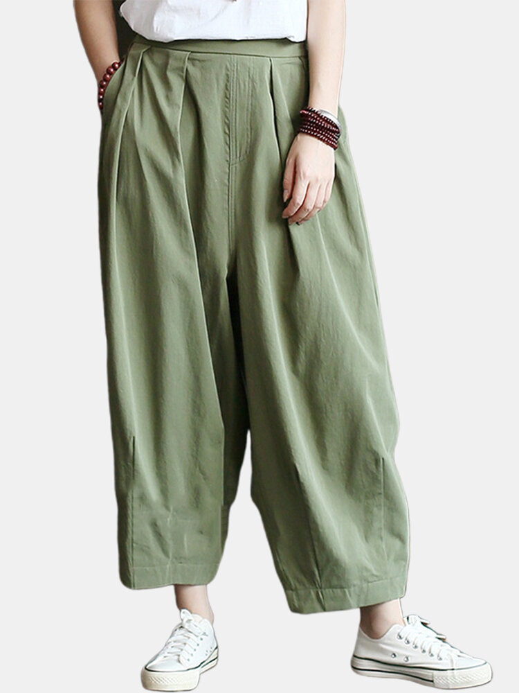 Best Solid Color Loose Pleated Elastic Waist Casual Pants You Can Buy