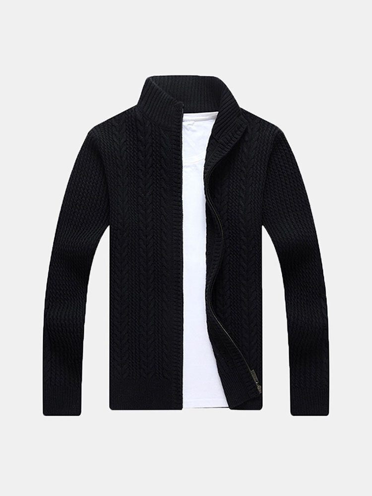 Best Mens Casual Twist Pattern Solid Color Knitted Sweater Stand Collar Long Sleeve Sweatercoat You Can Buy