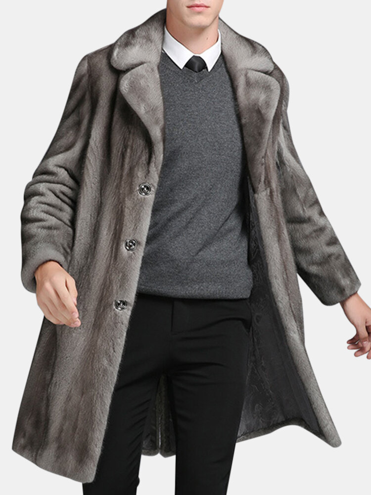 Best Mens Mink Faux Fur Coat Mid Long Winter Warm Slim Fit Casual Jacket You Can Buy