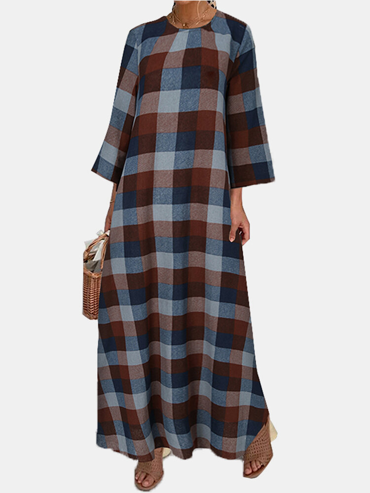 Best Vintage Plaid Print Long Sleeves O-neck Casual Dress For Women You Can Buy