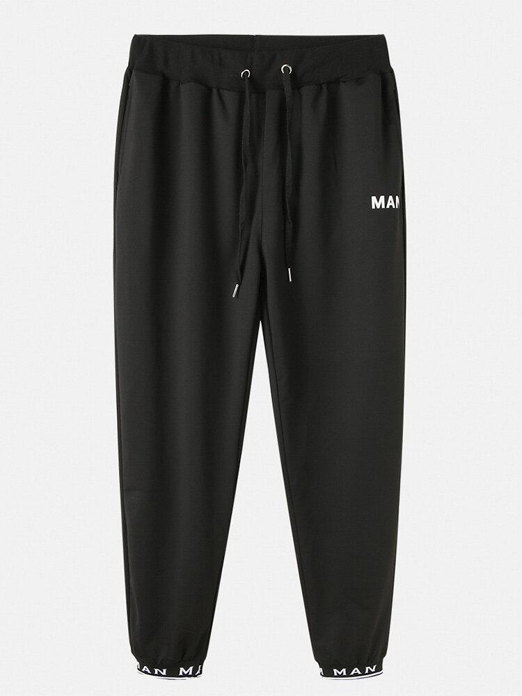 Best Mens Cotton Letter Print Plain Elastic Cuff Drawstring Waist Sport Casual Jogger Pants You Can Buy