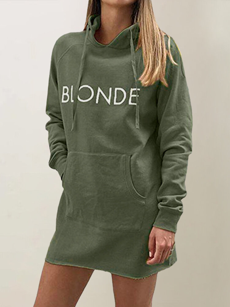 Best Letter Print Long Sleeve Hooded Plus Size Dress You Can Buy