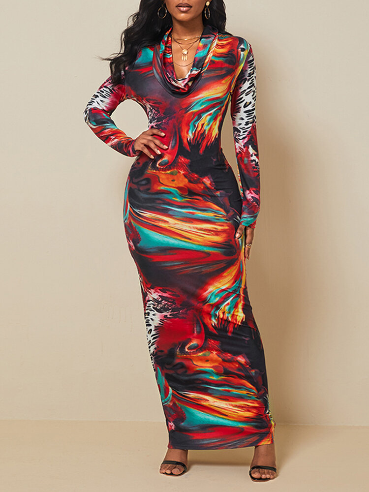 Best Vintage Printed Long Sleeve Pile Collar Maxi Dress You Can Buy