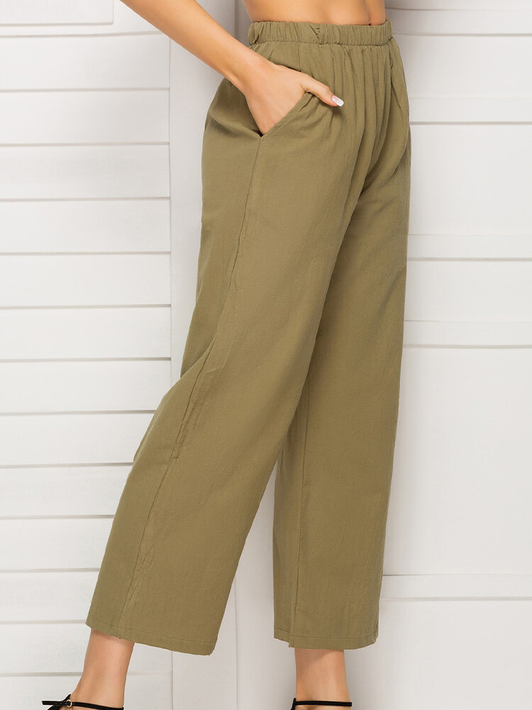 Best Elastic Waist Wide Leg Pockets Casual Pants For Women You Can Buy