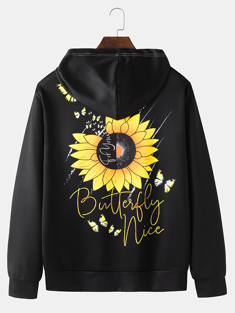 Best Mens Sunflower Butterflys Back Print Solid Kangaroo Pocket Loose Hoodies You Can Buy