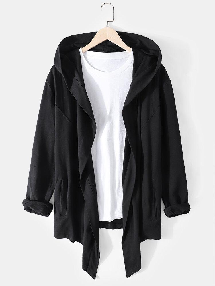 Best Mens Solid Color Assassin Loose Irregular Hem Hooded Cardigans With Pockets You Can Buy
