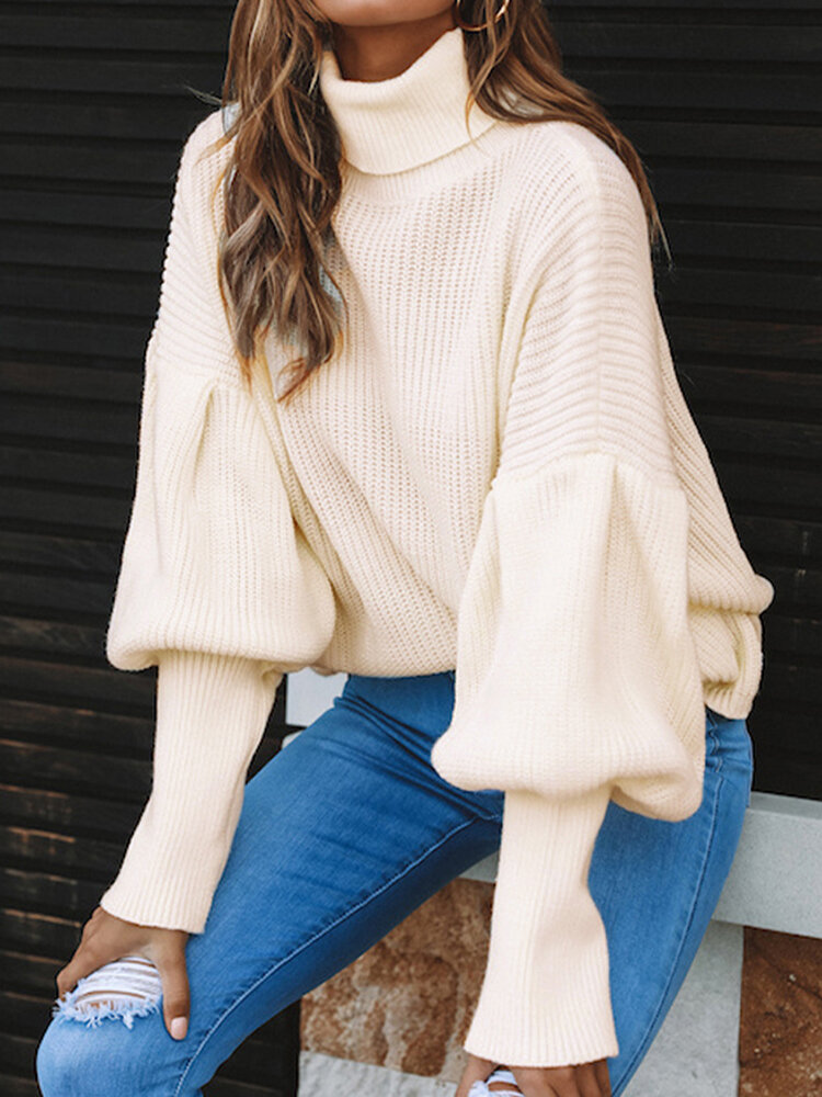Best Solid Color High-neck Bishop Long Sleeve Sweater You Can Buy