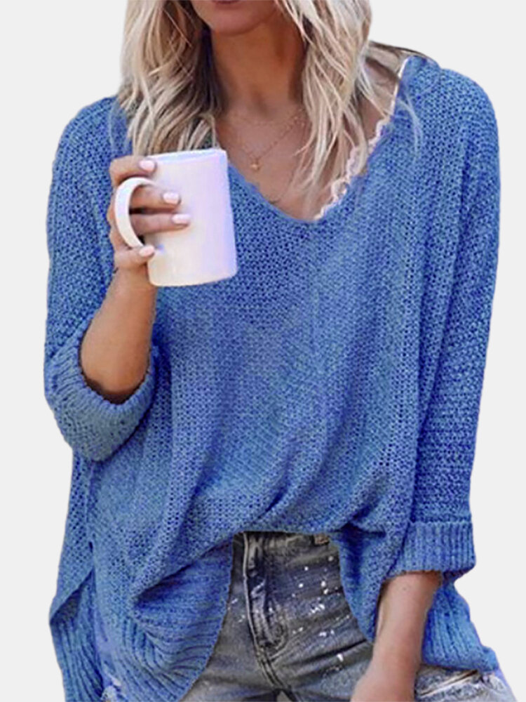 Best Solid Color Long Sleeve V-neck Casual Sweater For Women You Can Buy