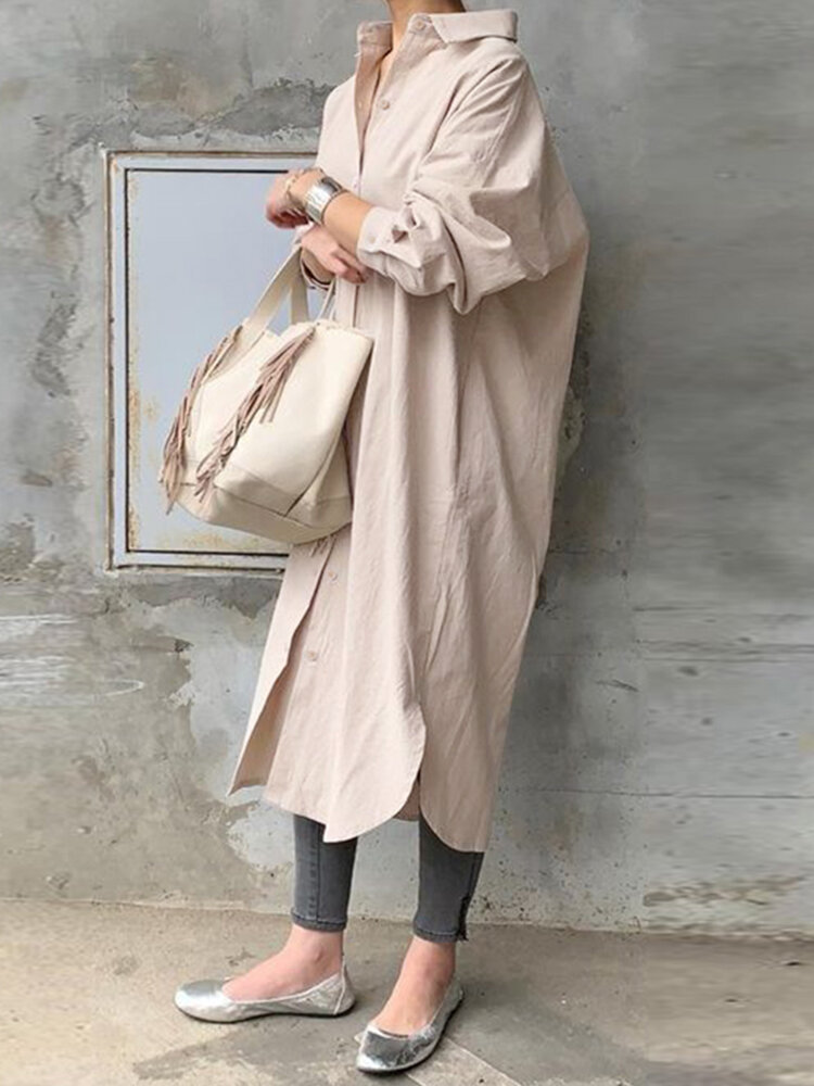 Best Solid Color Casual Long Sleeve Cotton Shirt Dress You Can Buy