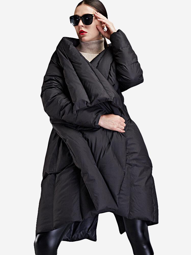 Best Lapel Irregular Hem Solid Color Loose Plus Size Long Down Coat You Can Buy