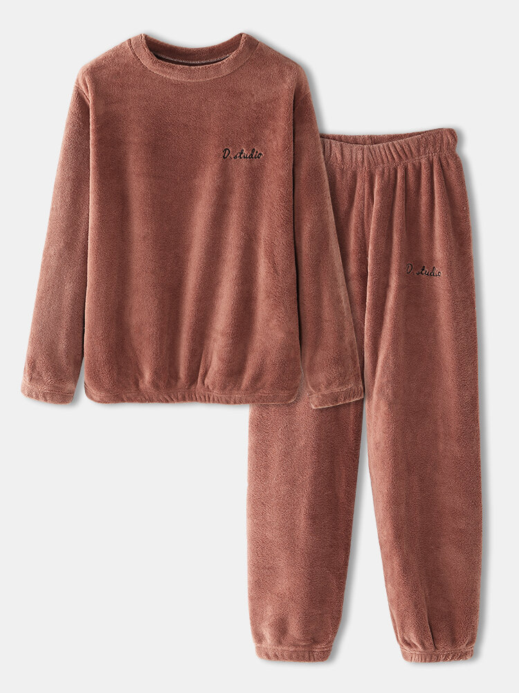 Best Women Plus Size Solid Coral Fleece Warm Round Neck Two-Piece Home Comfy Pajamas Set You Can Buy