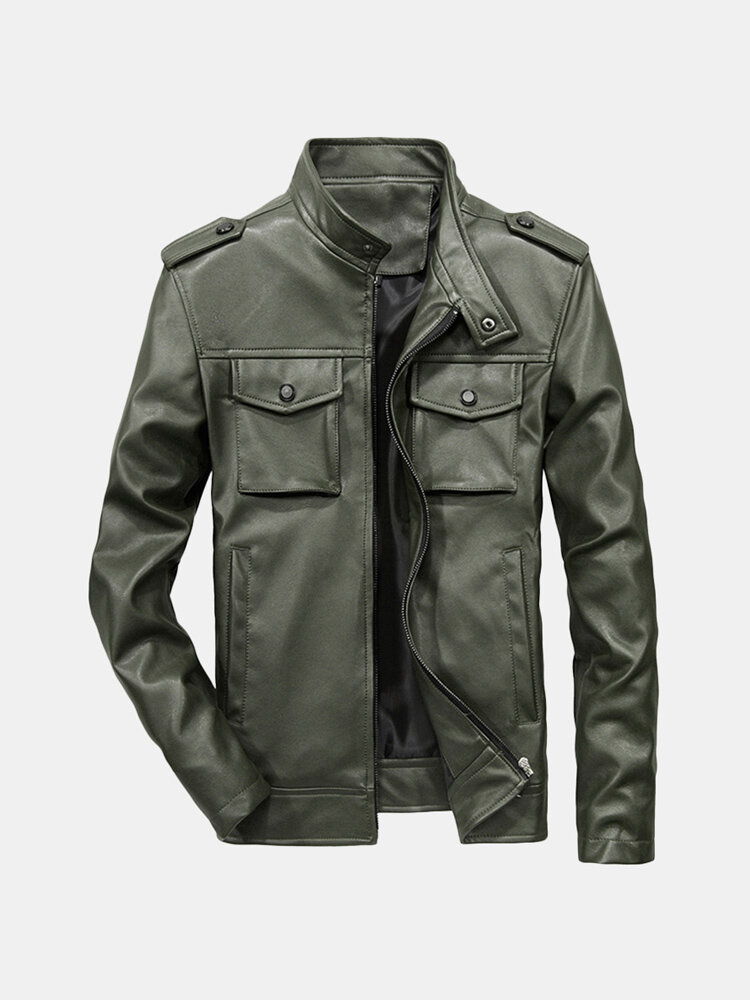 Best Men's Multi-pocket Leather Warm Stand Collar Jacket PU Coat You Can Buy