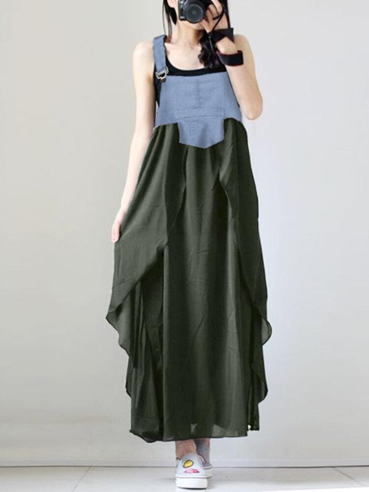 Best Denim Patchwork Front Button Sleeveless Irregular Maxi Dress You Can Buy